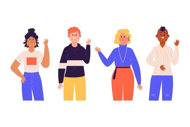 Ilustração artística com pessoas acenando a mão