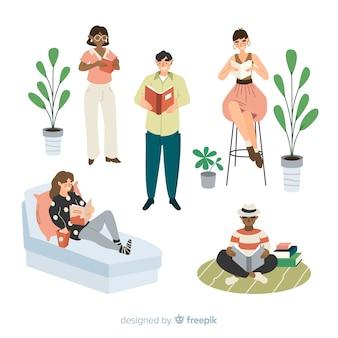 Ilustração artística com pessoas dando palestras