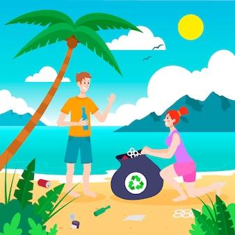 Ilustração artística com pessoas limpando praia