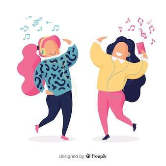 Ilustração artística com pessoas ouvindo música