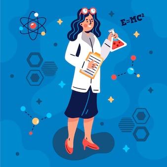 Ilustração artística de cientista feminina