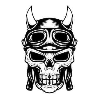 Ilustração artística de crânio com capacete de piloto Vetor Premium