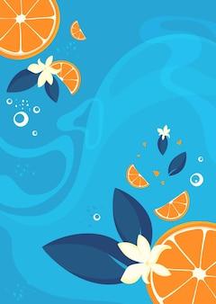 Ilustração artística de laranjas e baunilha