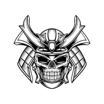 Ilustração artística de linha de uma caveira com um capacete de samurai