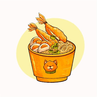Ilustração artística de udon com cobertura de camarão