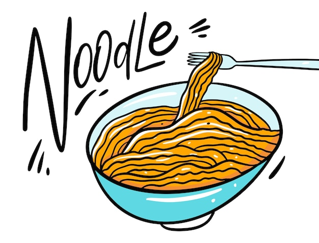 Ilustração asia noodle in deep bowl