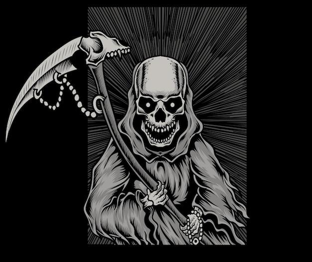 Ilustração assustador do crânio do anjo da morte