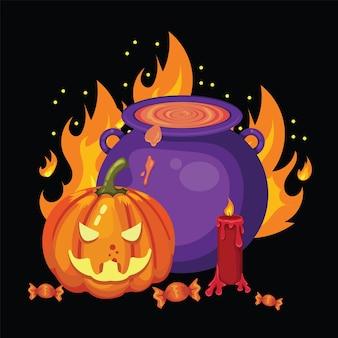 Ilustração assustadora da festa de halloween com a inscrição de velas de abóboras malignas e poção mágica fervendo