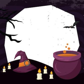 Ilustração assustadora da festa de halloween com a inscrição do mal com velas e poção mágica fervendo