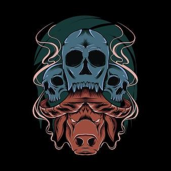 Ilustração assustadora de cabeça de búfalo e crânio para design e impressão de camisetas