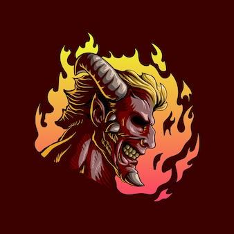 Ilustração assustadora do demônio do fogo