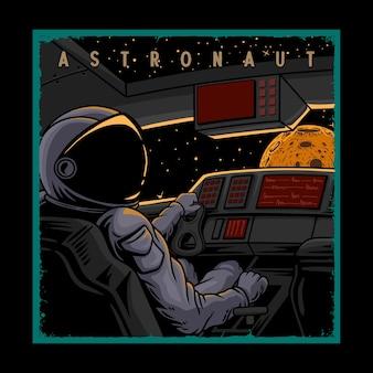 Ilustração astronauta em uma nave espacial
