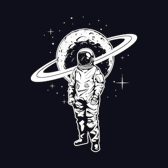 Ilustração astronauta para design de camisetas