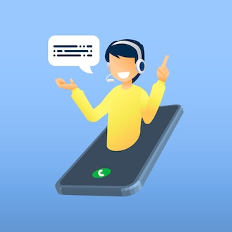 Ilustração, atendimento ao cliente, operador de linha direta masculina aconselha o cliente