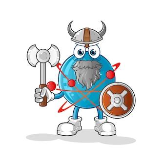 Ilustração atom viking com um machado