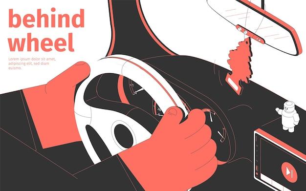 Ilustração atrás do volante