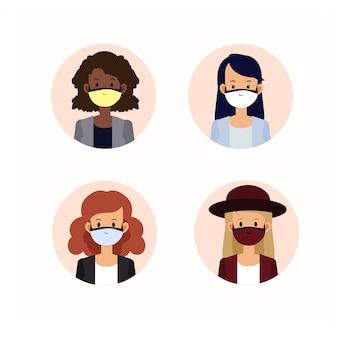 Ilustração avaar povos mulher vestindo máscara médica. mulheres com proteção contra vírus, poluição do ar urbano, poluição, vapor, emissão de gases poluentes. ilustração.