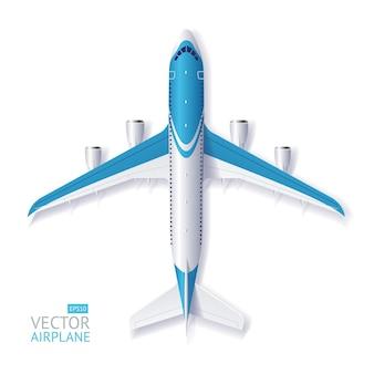 Ilustração avião azul com espaço para texto isolado em um fundo branco.