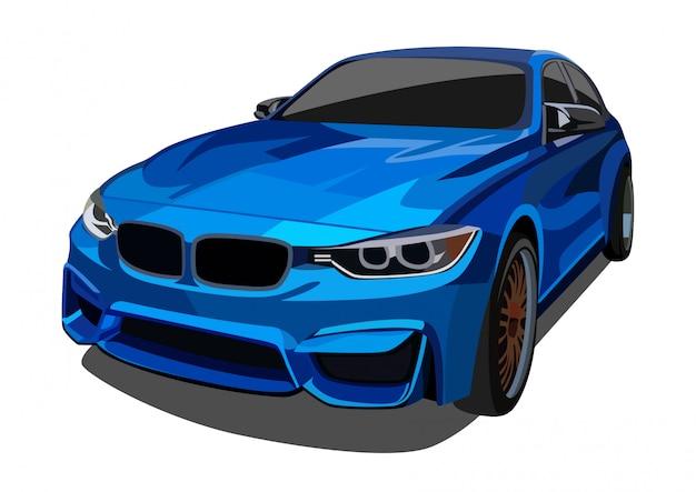 Ilustração azul carro elegante
