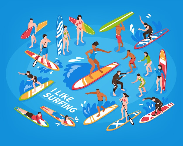 Ilustração azul isométrica de surf