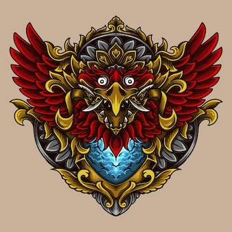 Ilustração balinesa barong garuda gravura ornamento