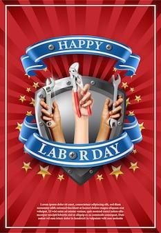 Ilustração bandeira do dia do trabalho. emblema do elemento sobre fundo vermelho com estrelas. mãos segurando instrumentos como parafuso ou chave inglesa.