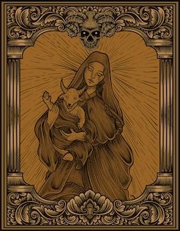 Ilustração bebê baphomet e mãe com gravura estilo ornamento