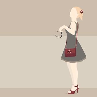 Ilustração bege para fazer compras com a garota