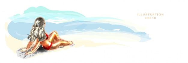 Ilustração. bela jovem bronzeada na praia, deita-se na areia e toma banhos de sol. férias e conceito de férias na costa. sol de verão. a costa e o mar.