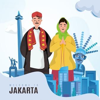 Ilustração betawi tradicional de boas-vindas a jacarta, indonésia