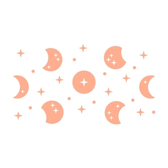 Ilustração boêmia com lua e estrelas