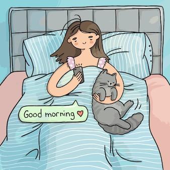 Ilustração bom dia menina na cama com um gato