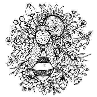Ilustração bonita com abelha, flores e frutos
