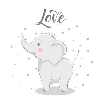 Ilustração bonita com bebê elefante