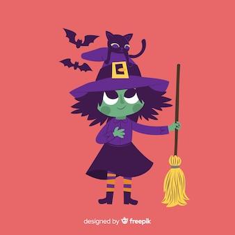 Ilustração bonita com bruxa de halloween