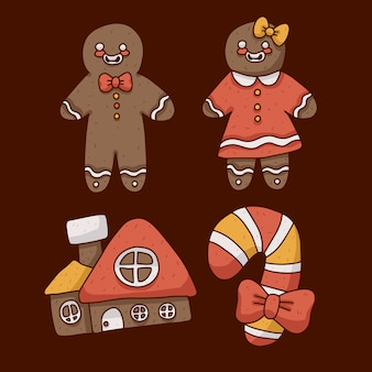 Ilustração bonita de biscoitos de gengibre de natal