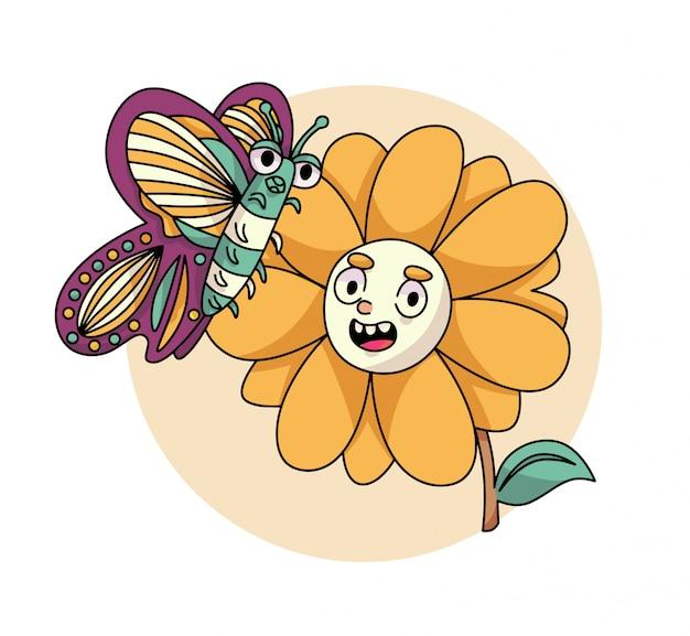Ilustração bonita de borboleta e girassol