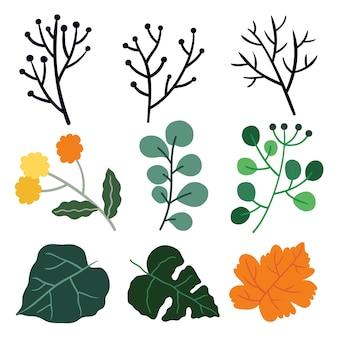 Ilustração bonita de folhas.