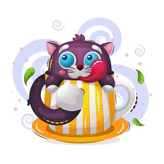 Ilustração bonita de gato engraçado animal de estimação