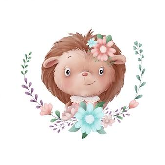 Ilustração bonita de uma menina de ouriço em uma coroa de flores
