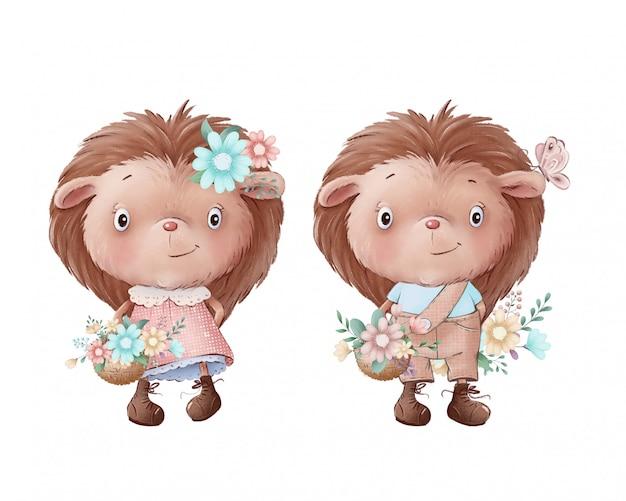 Ilustração bonita de uma menina e um menino de ouriço