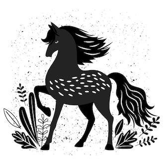 Ilustração bonita do cavalo preto no branco