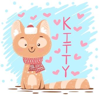 Ilustração bonita do gato do amor