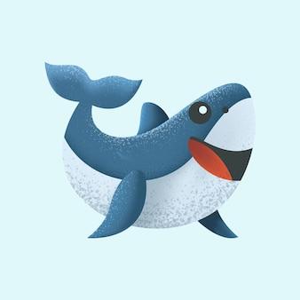 Ilustração bonita do personagem do tubarão