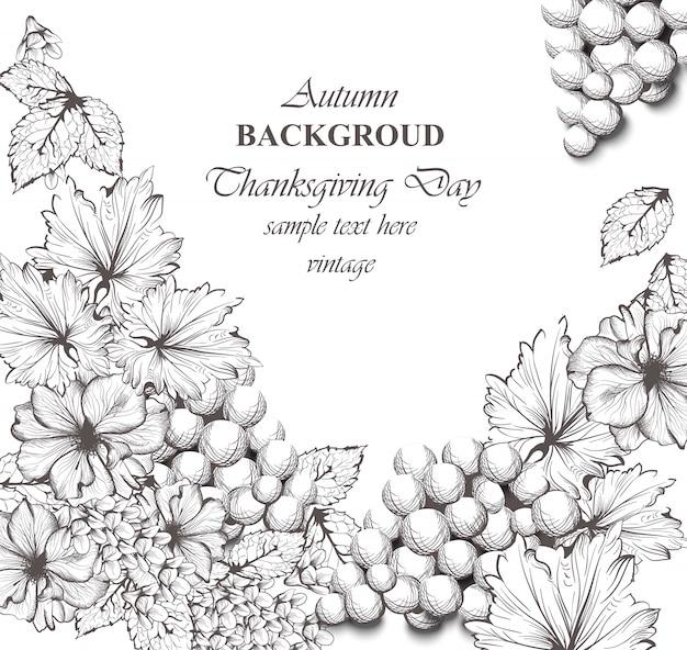 Ilustração bonita do vetor das flores e das uvas. fundo de padrões florais. ilustrações de estilo gráfico desenhadas a mão na linha de arte