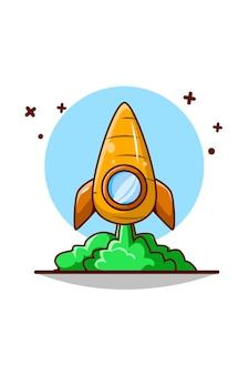 Ilustração bonita dos desenhos animados do ícone da cenoura foguete