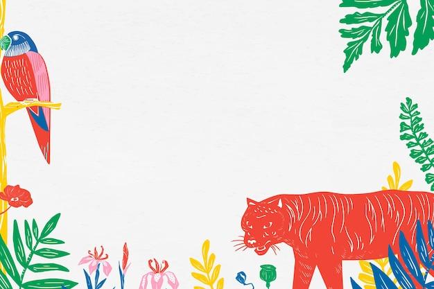 Ilustração bonita e colorida de animais selvagens