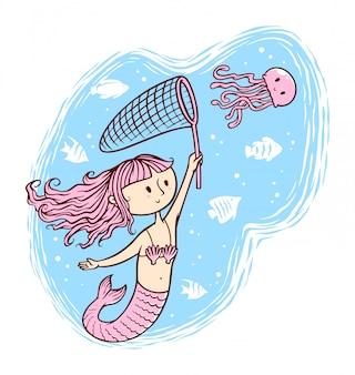 Ilustração bonita sereia e água-viva