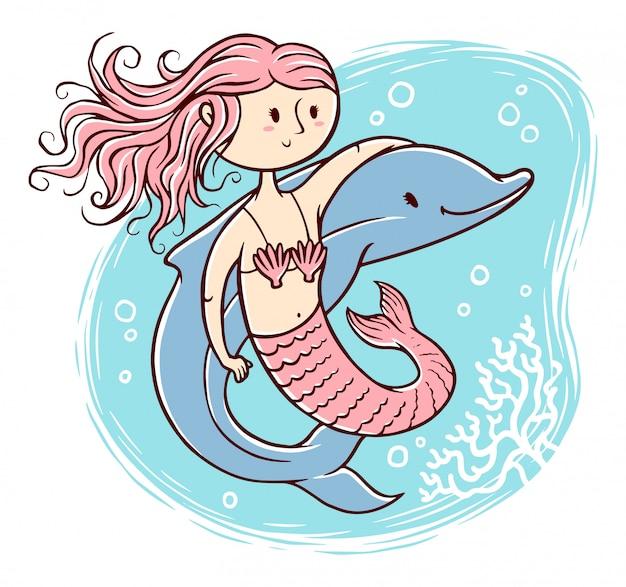 Ilustração bonita sereia e golfinho