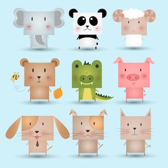Ilustração bonito ajustada do vetor dos animais do ícone.